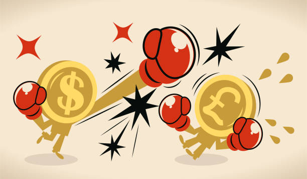 Anthropomorphic dollar and pound sign coin (US  currency vs British currency) are fighting against each other by boxing; British pound currency crisis vector art illustration