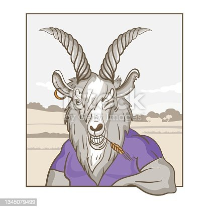 istock Anthropomorphic drawing of a goat. Vector illustration. 1345079499