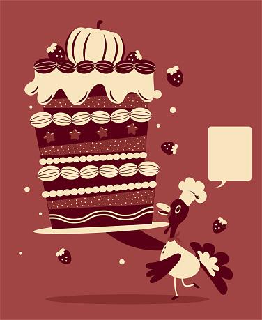 Anthropomorphic turkey chef serving a big Thanksgiving cake or birthday cake