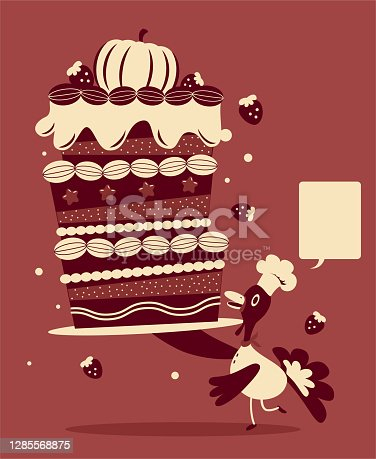 istock Anthropomorphic turkey chef serving a big Thanksgiving cake or birthday cake 1285568875