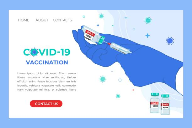 Anti Coronavirus disease COVID-19 infection medical vaccination landing page. Anti Coronavirus disease COVID-19 infection medical vaccination Landing Page. Doctor hands in medical gloves with syringe and vaccine bottle. Prevention pandemic risk web banner. Vector illustration. covid vaccine stock illustrations