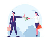 Anti Corruption Concept. Woman Give Envelope with Money to Businessman who refuse Taking Bribe. Cash in Hand of Businesswoman during Corruption Deal. Cartoon People Characters Vector Illustration