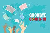istock Anti Covid-19, Goodbye, end of Coronavirus pandemic 1294014509