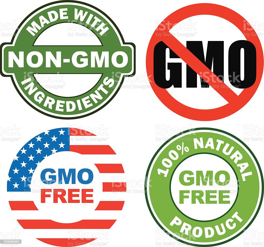 Anti GMO stickers vector art illustration