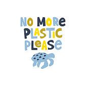 Anti ocean pollution flat vector banner template