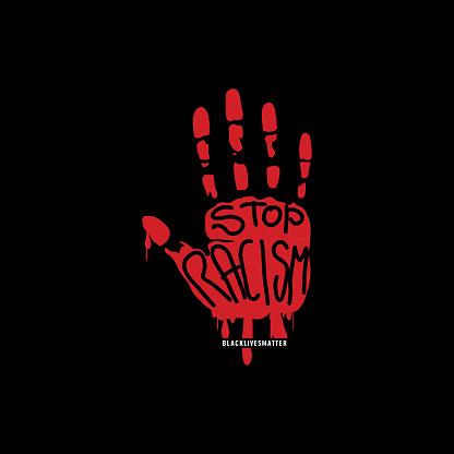 Anti Racism Hand Sign T-shirt Design Illustration