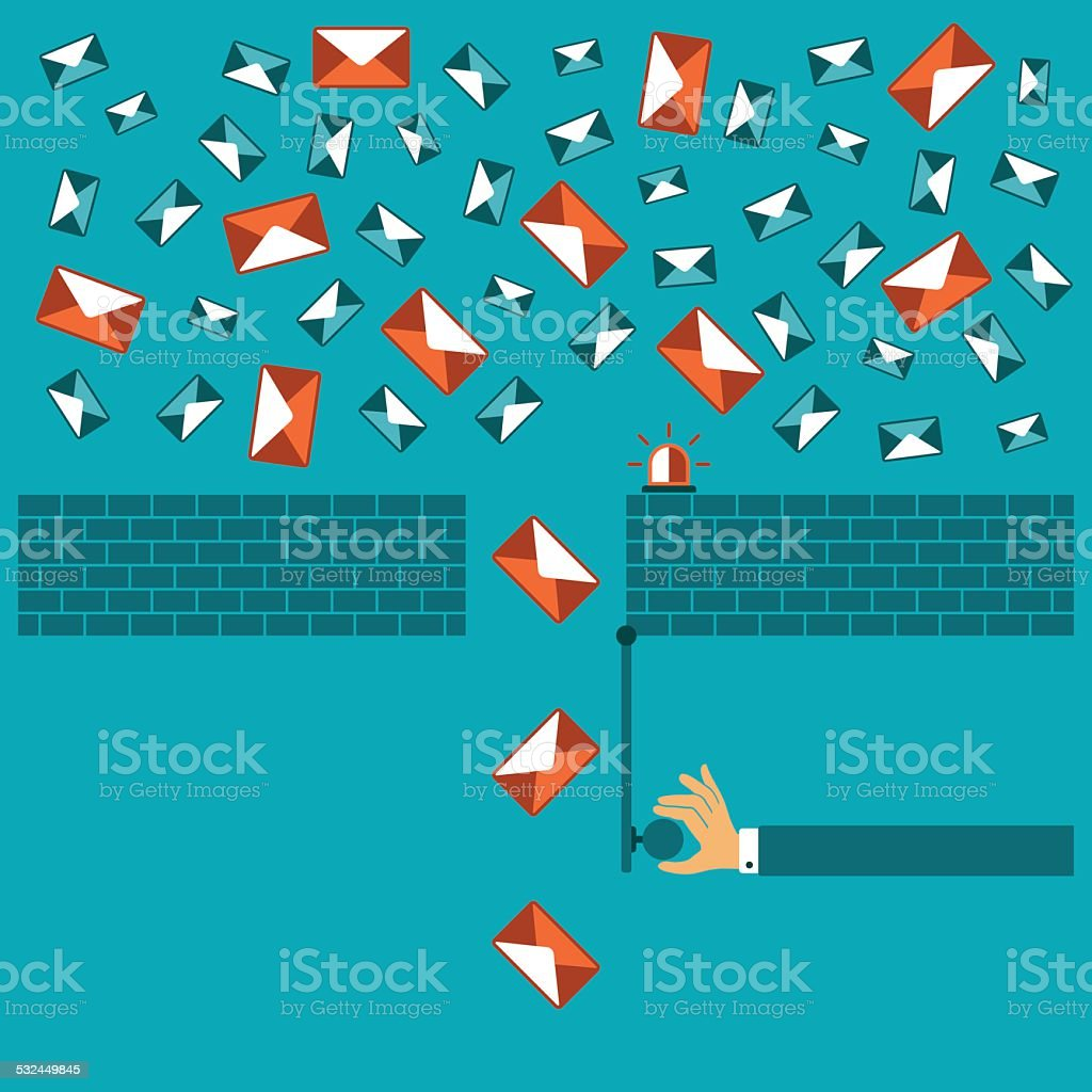 Anti spam filter vector concept in flat style vector art illustration