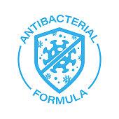 Antibacterial Antiviral Formula Vector Icon. Virus and Shield illustration