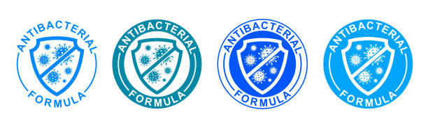 antibacterial formula set icons, shield with crossed bacteries inside. covid coronavirus clean hygiene medical protection anti bacterial  shield label - stock vector - covid testing stock illustrations