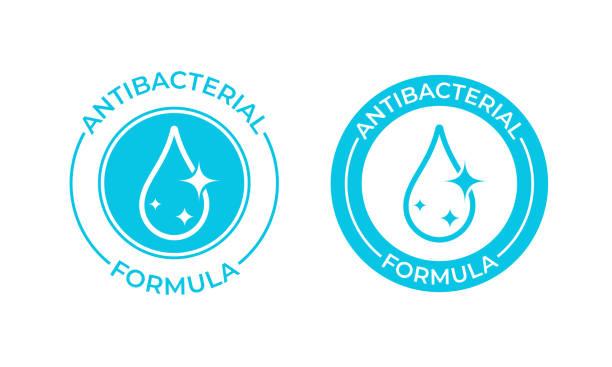 抗菌式ベクターアイコン。抗菌性石鹸、防腐剤、ケミカルクリーナー製品パッケージシール - 衛生点のイラスト素材/クリップアート素材/マンガ素材/アイコン素材