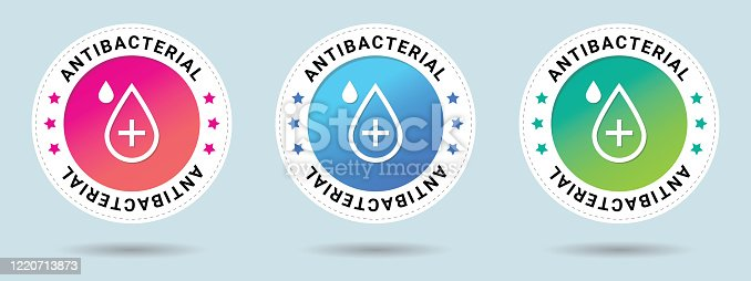 Antibacterial stamp vector illustration. Vector certificate icon. Set of 3 beautiful color gradients. Vector combination for certificate in flat style.