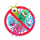 Antibacterial symbol. Virus infection and microbes bacterias control, humor cartoon protection sign stop vector disinfection hospital icon