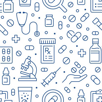 Antibiotic resistance blue seamless pattern. Vector background included line icons as bottle, hand, microscope, medication, syringe, recipe pharmacy, pill, prescription, medication.