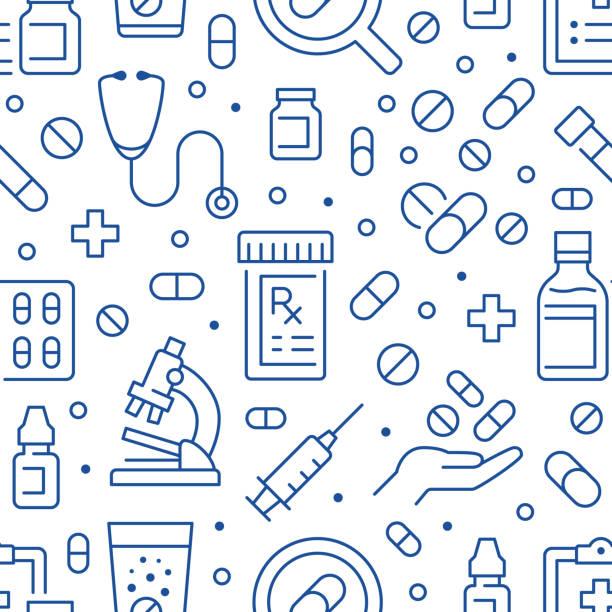 illustrazioni stock, clip art, cartoni animati e icone di tendenza di resistenza agli antibiotici blu senza cuciture. sfondo vettoriale incluso icone di linea come bottiglia, mano, microscopio, farmaci, siringa, farmacia ricetta, pillola, prescrizione, farmaci - farmacia