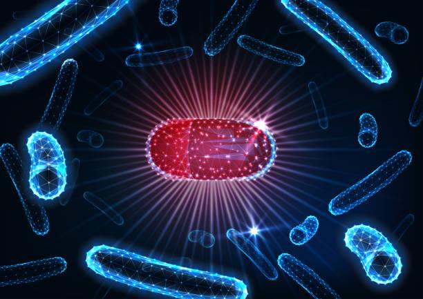 illustrazioni stock, clip art, cartoni animati e icone di tendenza di antibiotics pills in bacteria medium concept. futuristic drug capsule among bacilli microorganisms. - antibiotico