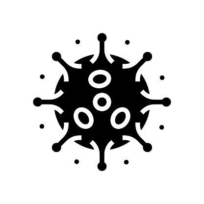 antibodies attacking virus glyph icon vector illustration