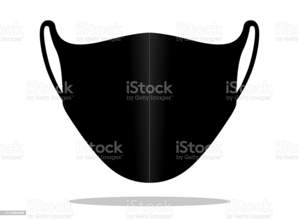 Anti-Dust Face Mask Vector For Template. Black Color Antique stock vector