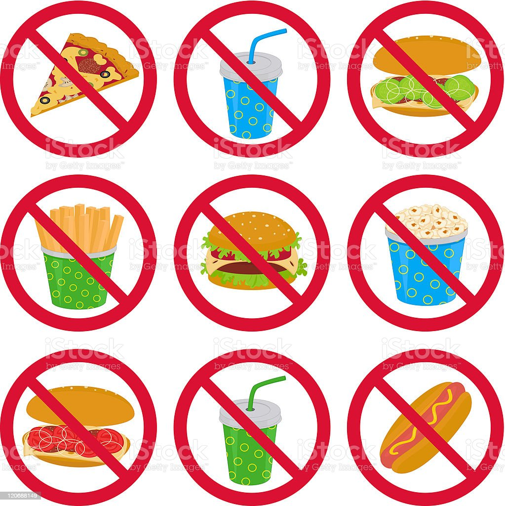 Anti-fast food signs royalty-free stock vector art