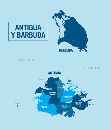 Antigua and Barbuda country, island political map. Detailed vector illustration with isolated regions, provinces, departments, islands and cities, easy to ungroup.