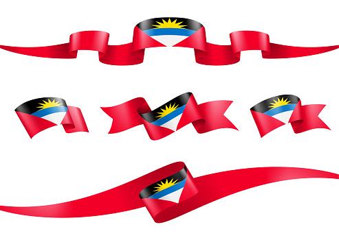 Antigua and Barbuda flag Ribbon Set - Vector Stock Illustration