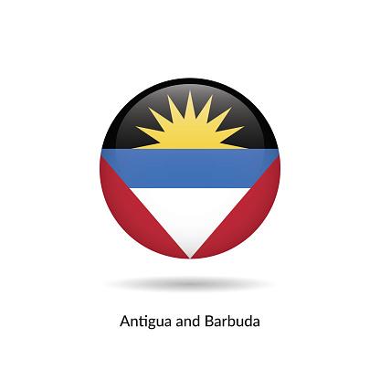 Antigua and Barbuda flag - round glossy button