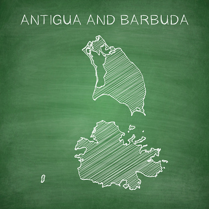 Antigua and Barbuda map drawn on chalkboard - Blackboard