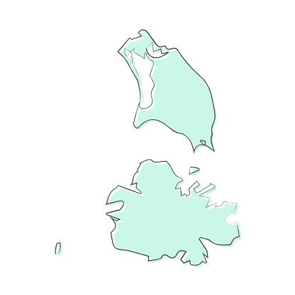 Antigua and Barbuda map hand drawn on white background - Trendy design