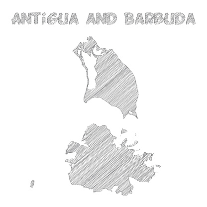 Antigua and Barbuda map hand drawn on white background