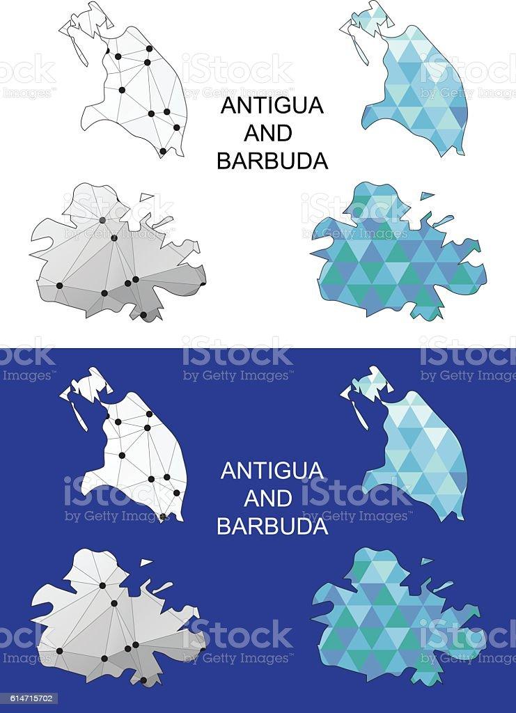 Antigua And Barbuda Map In Geometric Polygonal Style Stock ...