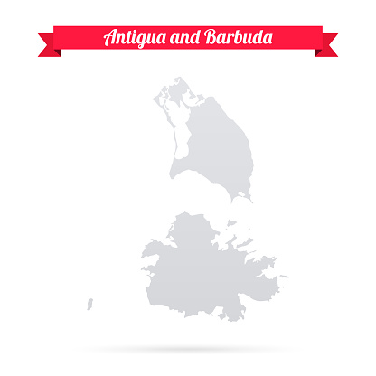 Antigua and Barbuda map on white background with red banner