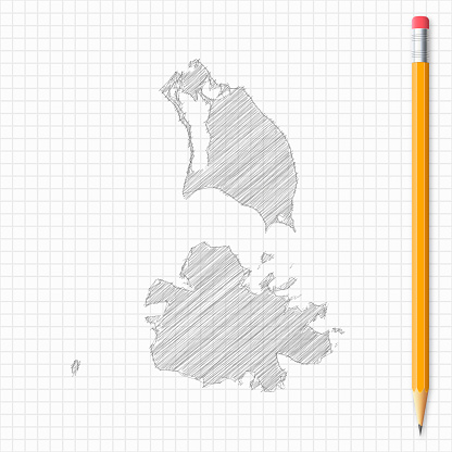 Antigua and Barbuda map sketch with pencil on grid paper