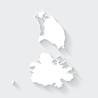 Antigua and Barbuda map with long shadow on blank background - Flat Design