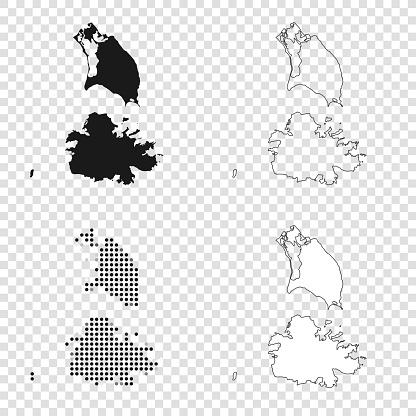 Antigua and Barbuda maps for design - Black, outline, mosaic and white