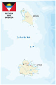 antigua and barbuda vector map with flag