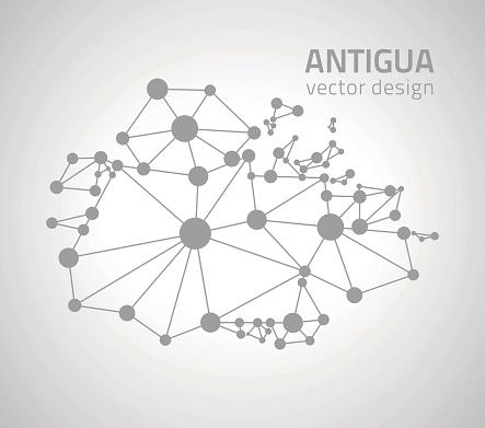 Antigua grey dot vector  outline triangle map