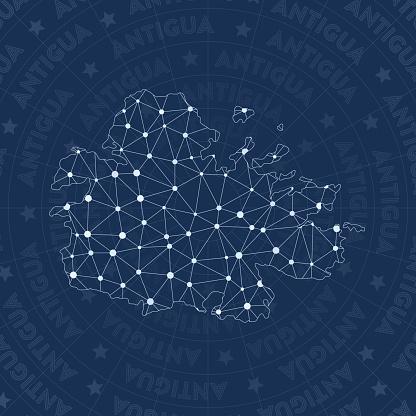 Antigua network, constellation style island map.