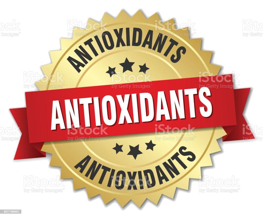 insignia oro 3d de antioxidantes con cinta roja - ilustración de arte vectorial