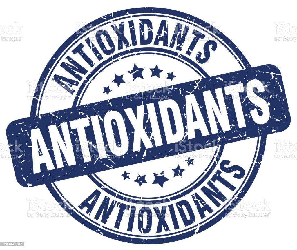 grunge de antioxidantes azul redondo vintage sello de goma - ilustración de arte vectorial