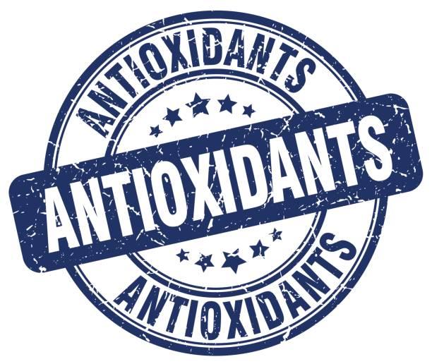 illustrations, cliparts, dessins animés et icônes de grunge antioxydants bleu rond vintage rubber stamp - antioxydant