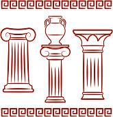Antique art – Pillars and ceramics. Vector illustration