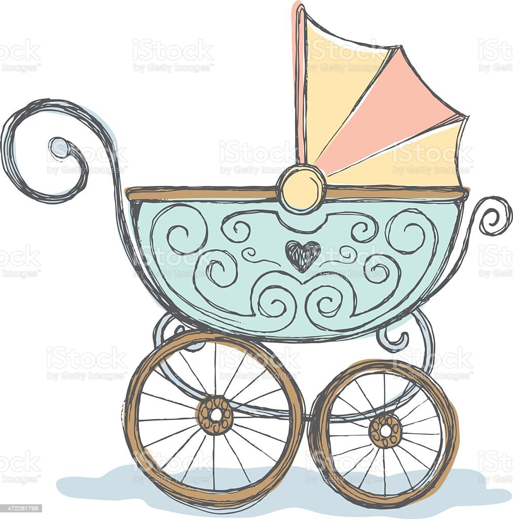 antique baby stroller stock vector art more images of antique rh istockphoto com baby stroller clipart black and white blue baby stroller clipart