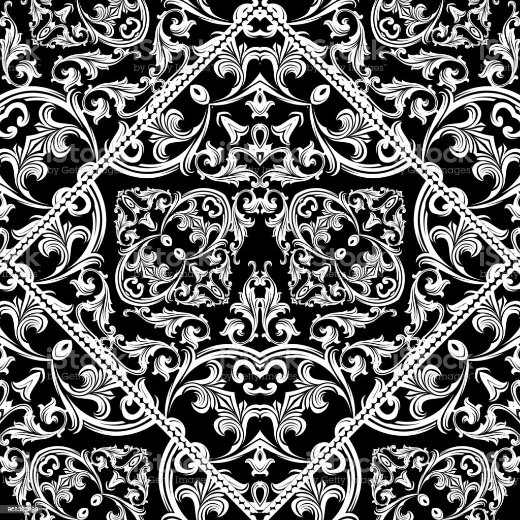 Antique Baroque Seamless Pattern Black Floral Background Wallpa