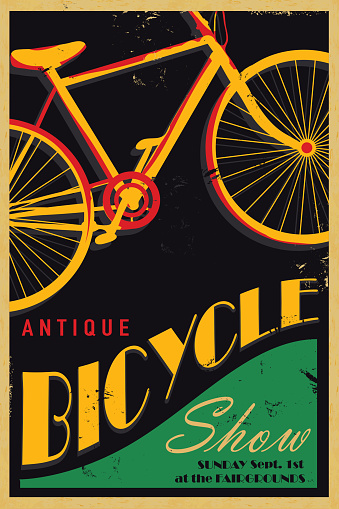 Antique bicycle poster design template