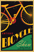 Vector illustration of an antique bicycle show poster in vintage poster style. Bold colours and slight texture to appear worn. Easy to customize with separate layers.