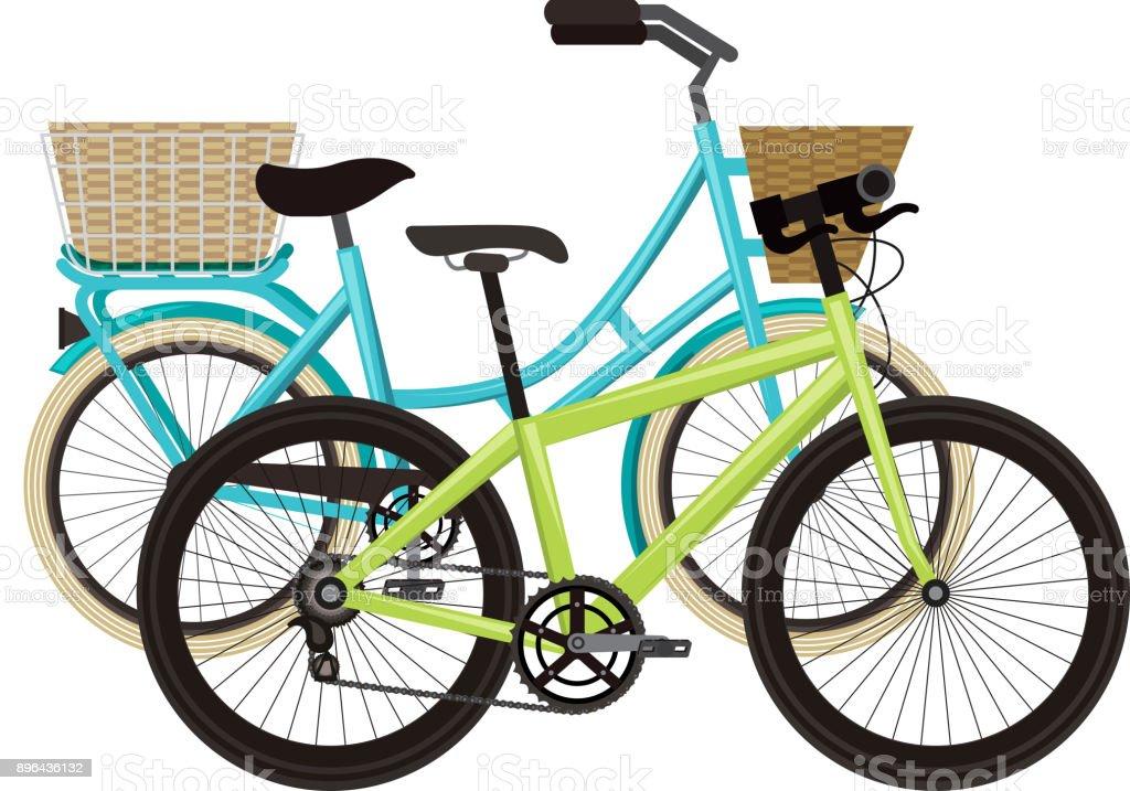 Antikes Fahrrad Mit Korb Und Rennrad Stock Vektor Art und mehr ...