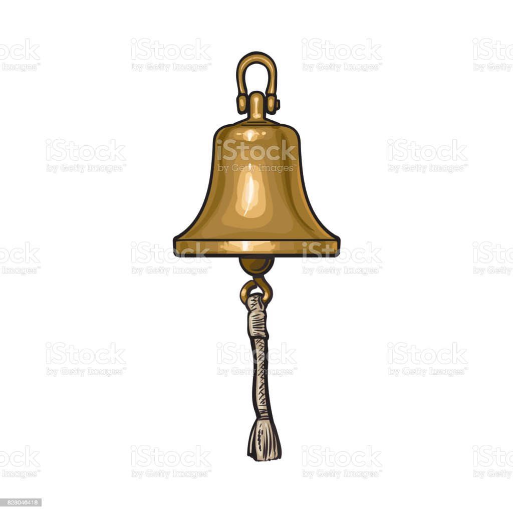 Antique brass, copper ship bell with rope vector art illustration