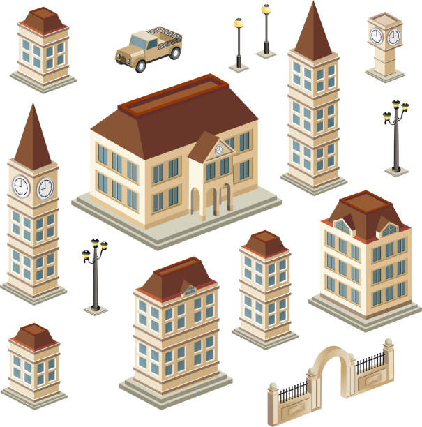 Antique buildings A set of urban and antique buildings in the isometric personal land vehicle stock illustrations