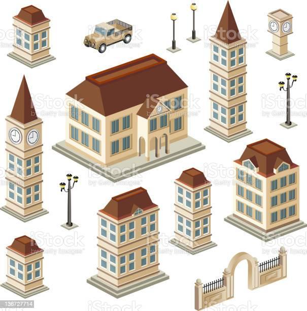 Antique Buildings Stockvectorkunst en meer beelden van Afbeelding
