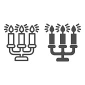istock Antique candlestick with burning candles line and solid icon, Christmas concept, candelabrum sign on white background, rarity candlestick icon in outline style for mobile concept. Vector graphics. 1285390104