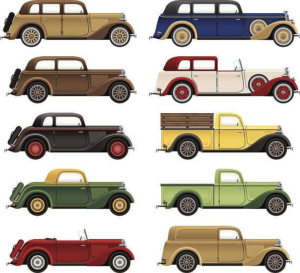 antique cars - 1920s style stock illustrations, clip art, cartoons, & icons